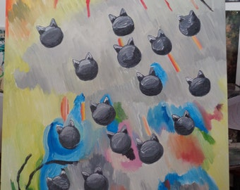 painting-- It's Raining Cats