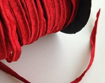 Cord Piping, Deep Red Piping, Bias Piping, Dupion Silk Piping, Corded Piping, 1/8th inch, piping trim, bulk trim, maroon sewing piping