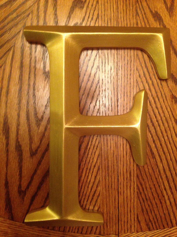 Large wall letter letter f gold letter wedding monogran for Large letter j for wall