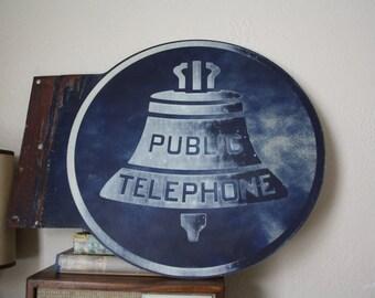 Public Telephone Sign - Metal Vintage 1950s