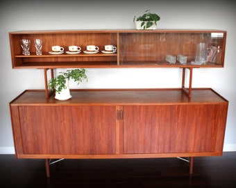 Mid Century Danish Teak Credenza Sideboard Buffet with Floating Hutch China Cabinet