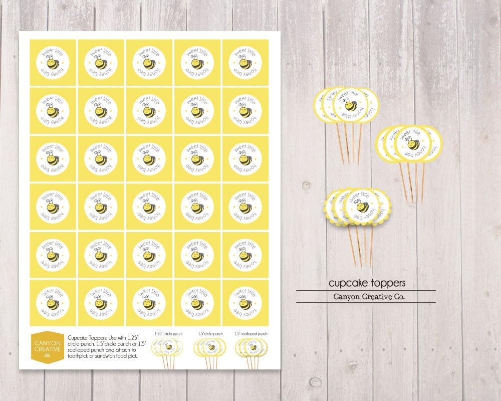 Sweet Honey Bee Baby Shower Cupcake Topper Instant Download