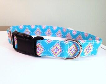 Aqua dog collar, summer dog collar, female dog collar, medium dog collar, dog collar, diamond blue dog collar, geometric dog collar