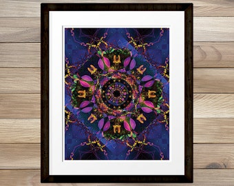 Trippy digital space cosmic mandala print 8x10 INSTANT DOWNLOAD