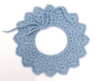 Blue crochet baby collar / Peter Pan collar / baby girl collar