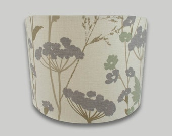 Grey Meadow Cow Parsley Fern Drum Lampshade Lightshade 20cm 25cm 30cm 35cm 40cm sizes available