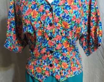 Women's Colorful Floral Print Button Up Top, 1990s Women's Size Medium Button up Top, Retro V-Neck Button Up Blouse, Bright, Colorful