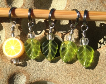 Lemon Tree Stitch Markers - Set of 5