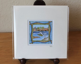Grey Heron, Dumfries, Mounted Mini Print, Dumfries & Galloway, Scotland Small Square Artwork, Ready for Framing (Frame not supplied).