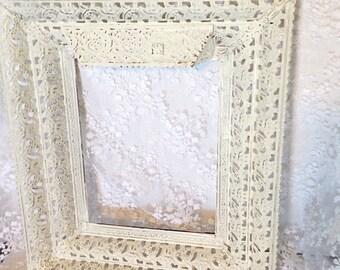 Ornate frame-frame-vintage frame- filigree frame-antique white frame-picture frame-photo frame-wall frame-