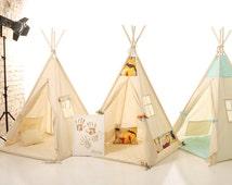 Kids nursery teepee cotton house. Wood kids bed house. Children bed house .Play wood house.Play wooden house bed.Kids teepee,enfant tipi bed