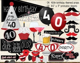 Photo Booth Props, HAPPY 40TH BIRTHDAY, printable sheets, instant download, red, black, party planning