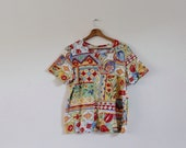 Vintage 1990s Colourful T-shirt | Floral Top | Abstract Print Blouse