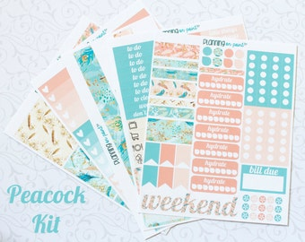HUGE SALE! Peacock Coral & Turquoise Planner Kit (for Vertical Erin Condren Life Planner)