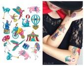 "Temporary kids tattoo set (sheet 15x21 cm) ""Circus"". Pig, umbrella, parrot, monkey, ball, bike, trumpet, pavilion, fur seal tattoo. TA024"