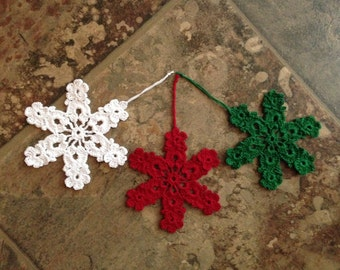 snow flake ornament or bookmark, craft parts, appliqué, home decor handmade crochet lace 3 for 8