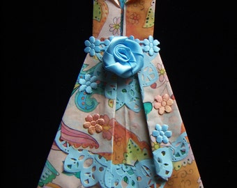 Origami  Paper Dress Beautiful Evening Prom Wear Hand Folded Satin Soft Blue Rose   Peach Blue Tones Origami Dress