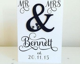 Mr & Mrs - wedding shaker card