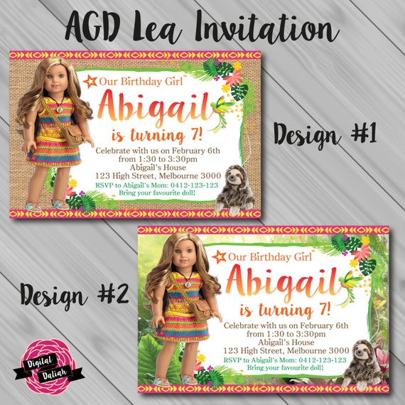 Lea Clark Inspired American Girl Birthday Party Invitations And – Doll Party Invitations