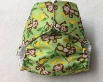 Newborn Cloth Diaper Cover - Monkey or Your Choice