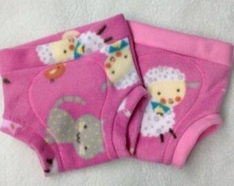 Fleece Soaker Cloth Diaper Cover - Pink Animals