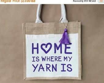 Back To School Sale Knitting Project Bag - Yarn Project Bag - Crocheting Bag - Gift For Mom - Gift For Knitter - Yarn Tote Bag - Hand Painte