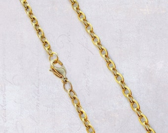 "2 x Gold Tone Stainless Steel 22"" Flat Link Cable Chain Necklaces 4mm x 3mm Links"