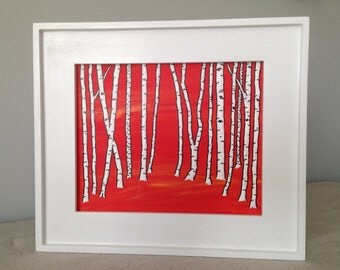 Painting with picture frame - White birch forest - dramed by Gianluca Moretti, painted by Mike Kraus - Free shipping Continental US!
