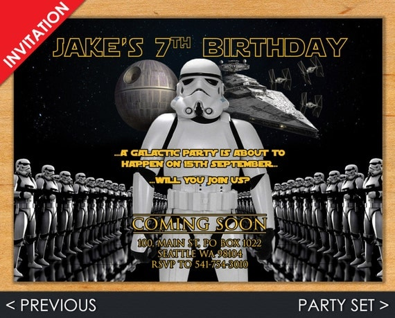 Digital Star Wars Birthday Invitation, Stormtrooper Invite - Party Set with Invitation, Address Label, Favor Tag & Water Bottle Label