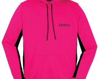 Personalized Name Hooded Sweatshirt, Custom Name Hoodie, Ladies Custom Colorblock Hoodie, Monogrammed Hoodie, Gift for Her. LST235