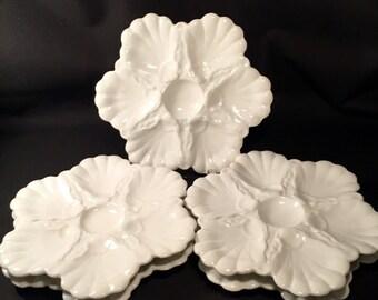 """Set of 5 Antique Limoges Oyster Plates 9"""""""