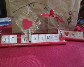 2 decorative Valentine's day Scrabble