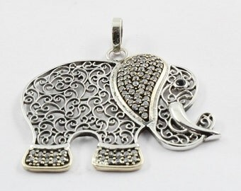 Elephant Shaped Cubic Zirconia & Black Onyx Stone 925 Sterling Silver Pendant With Brass