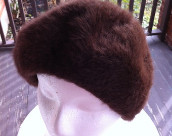 Vintage Womens Hat - Brown Cashmere Hat By Kangol Design - Made In England - Wonderful Accessory for Your Coat - Gift for Her