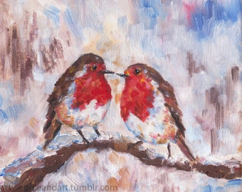 Pair of Robins, oil painting
