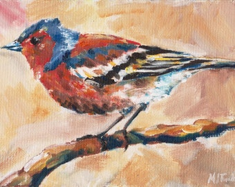 Chaffinch ii, original oil painting print