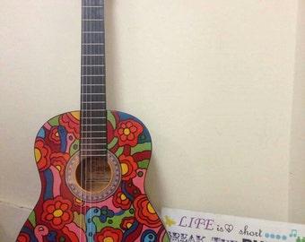 Handpainted Acoustic Guitar -playable