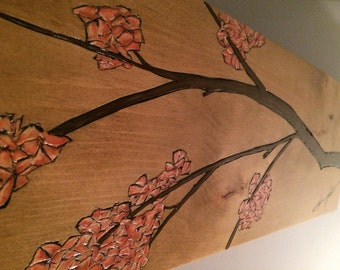 Flowering Tree / Hand Carved + Painted