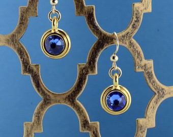 Sapphire/Gold Bezel Earrings - E2681 - Free Shipping