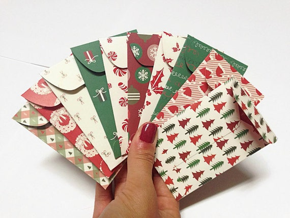 10 pcs of Christmas Gift Card Holder. Holiday Card Holder. Holiday Envelopes. Tiny Envelopes. Christmas Card Envelopes.
