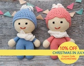 Colorful kewpie doll Little dolls Crocheted kewpie Baby doll Crochet soft toy for kids Stuffed doll