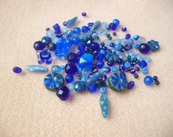 Czech glass bead mix, blue glass, bead soup, blue beads, mixed shapes, bag of beads, Czech beads, royal blue, perwinkle, assorted beads