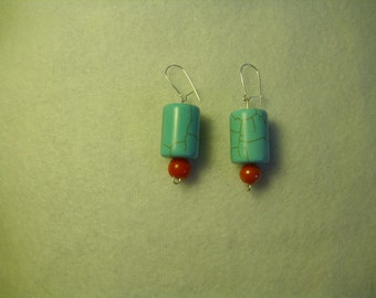 Wire Earrings with Turquoise Stone and Red Bead