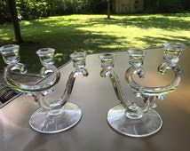 Fostoria Triple Candle Holders - Clear Glass - Century Pattern - Pair Candelabra - Candlesticks - 3 light