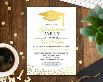 High school graduation invitation, gold confetti graduation invitation template, college graduation announcement, graduation party