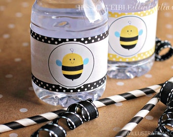 Honey Bee Printable Water Bottle Wrapper, Bumble Bee Party Bottle Label, Instant Download, Bee Party Printable Wrappers