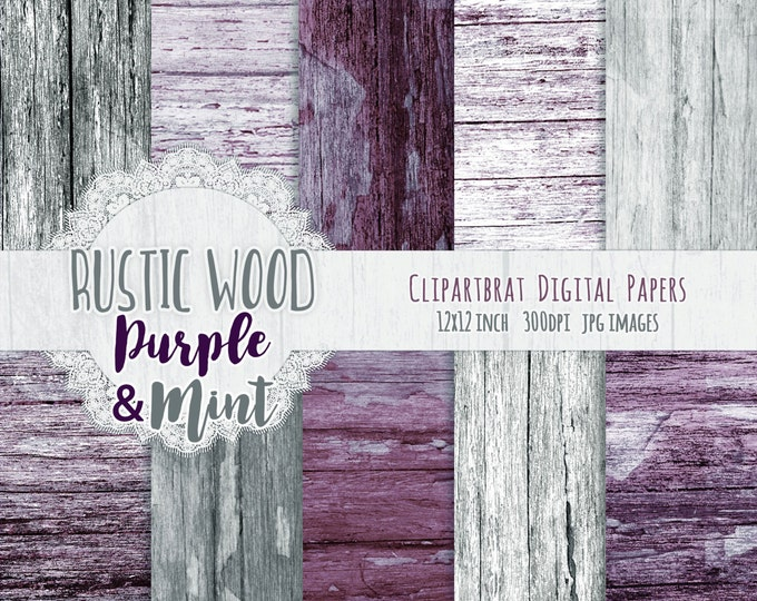 GRAY MINT WOOD Digital Paper Pack Commercial Use Digital Background Painted Barn Wood Paper Purple Distressed Painted Wood Grain Paper Pack