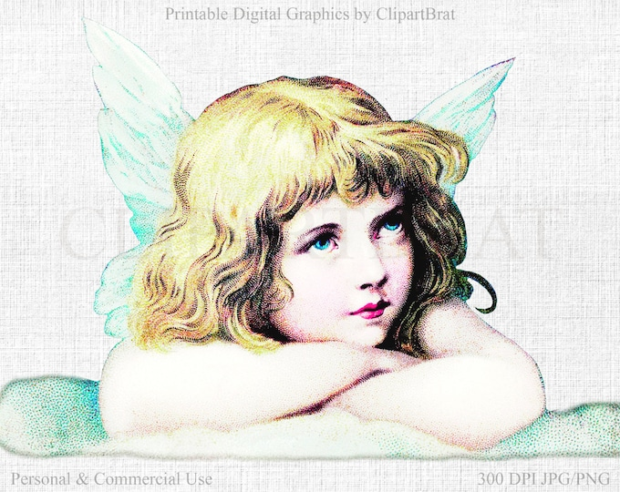 CHRISTMAS ANGEL Clipart Commercial Use Clipart Angel on Cloud VICTORIAN Scrap Clipart Fabric Transfer Clipart Angel Graphic Jpg/Png