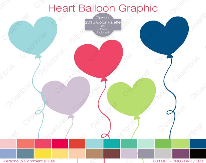 HEART BALLOON Clipart Commercial Use Clipart Birthday Party Balloon Graphic 2016 Color Palette 24 Colors Balloon Digital Sticker Png Eps Svg
