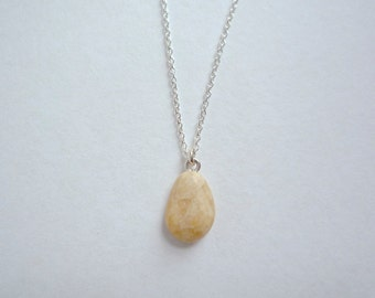 Rock pendant etsy dainty creamy white rock pendant 16 inch sterling silver chain tiny tumbled stone necklace aloadofball Images